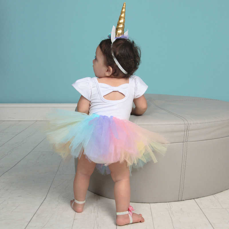 a66828af163cd Baby Girl Clothes Dresses 1Year Unicorn Dress 1st Birthday Unicornio Romper  Tutu Headband Baptism New born Christmas Costume