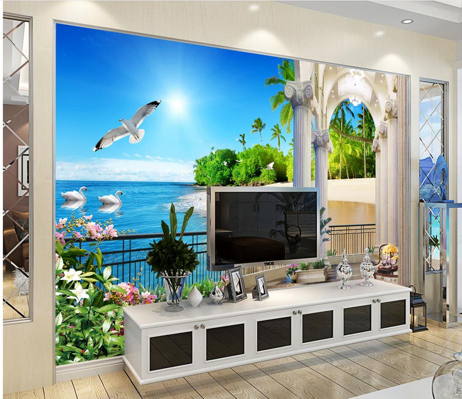 Dekorasi rumah dekorasi wallpaper 3d stereo indah mediterania pantai pantai kecantikan kustom 3d foto wallpaper