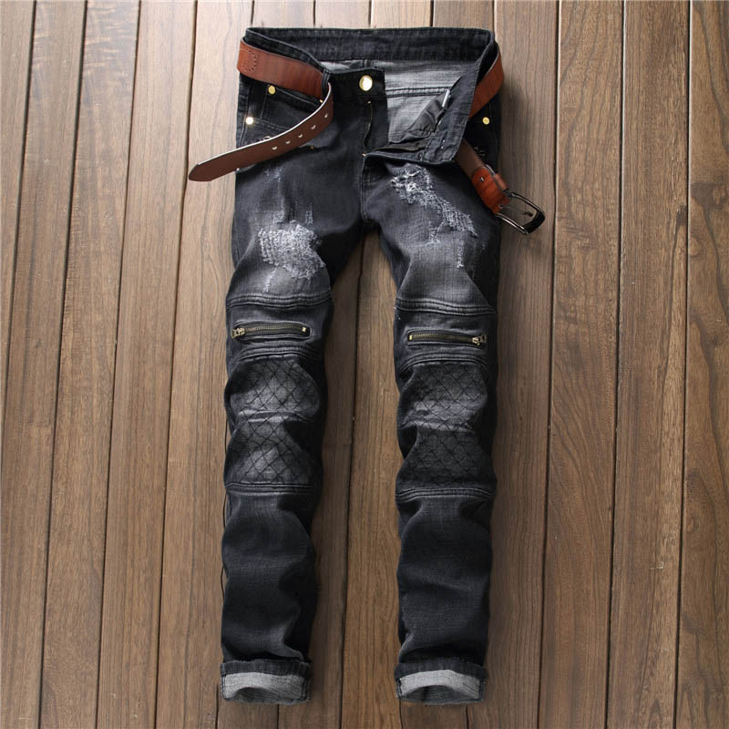 2017 Brand Designer Plaid Patch Zipper Style Men's Jeans High Street Scratched Men Denim Pants Black Jeans Rock Hip Hop Stylish