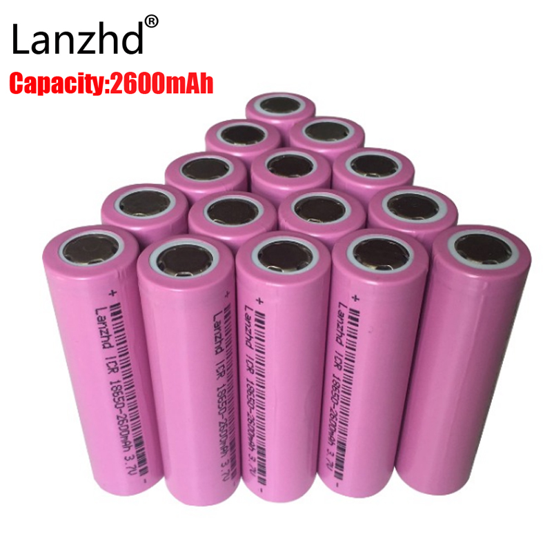 2PCS 18650 rechargable Batteries 3.7v ICR18650 rechargeable 18650 Li-ion  Real Full 2600MAH Capacity Battery for Led Flashlight