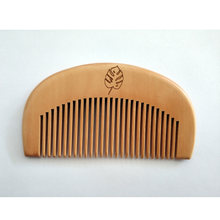 1PCS Natural Peach Wood Fine-Tooth Moon Comb For Men Beard & Women Hair Care Engraved Logo Pocket Size 3.9inch(China)