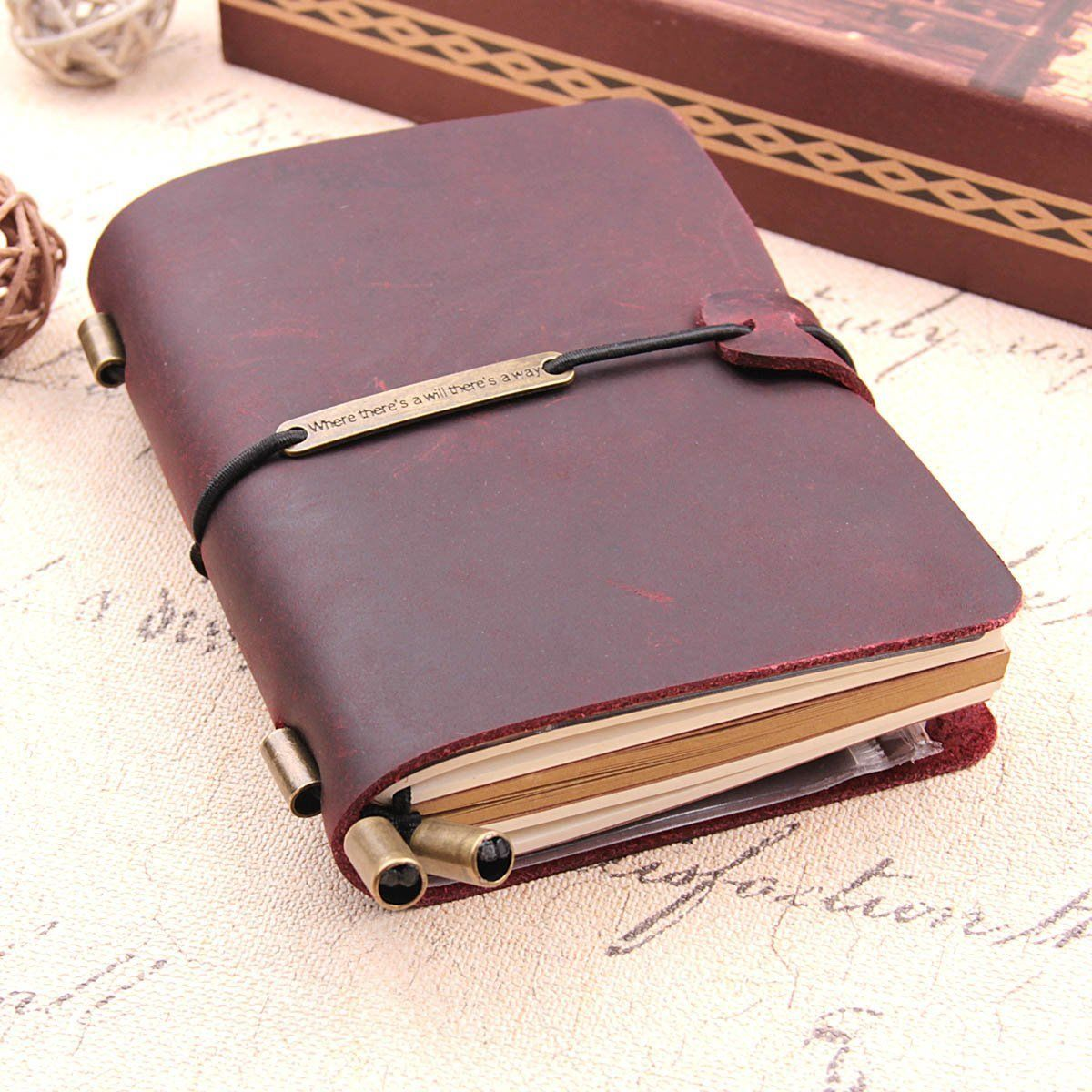 Handmade Traveler's Notebook, Leather Travel Journal Diary For Men & Women,Perfect For Writing,Gifts,Travelers,5.2 X 4 Inches