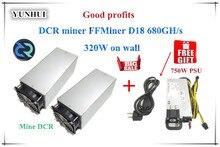 DCR Шахтер FFMiner D18 680GH/S 320 Вт 1 компл. экономичность выше, чем Innosilicon D9 для DCR с БП хорошую прибыль