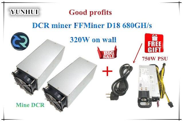 DCR mineur FFMiner D18 680GH/S 320 w 1 set Coût-efficacité est plus élevé que Innosilicon D9 pour DCR Avec PSU de bons profits