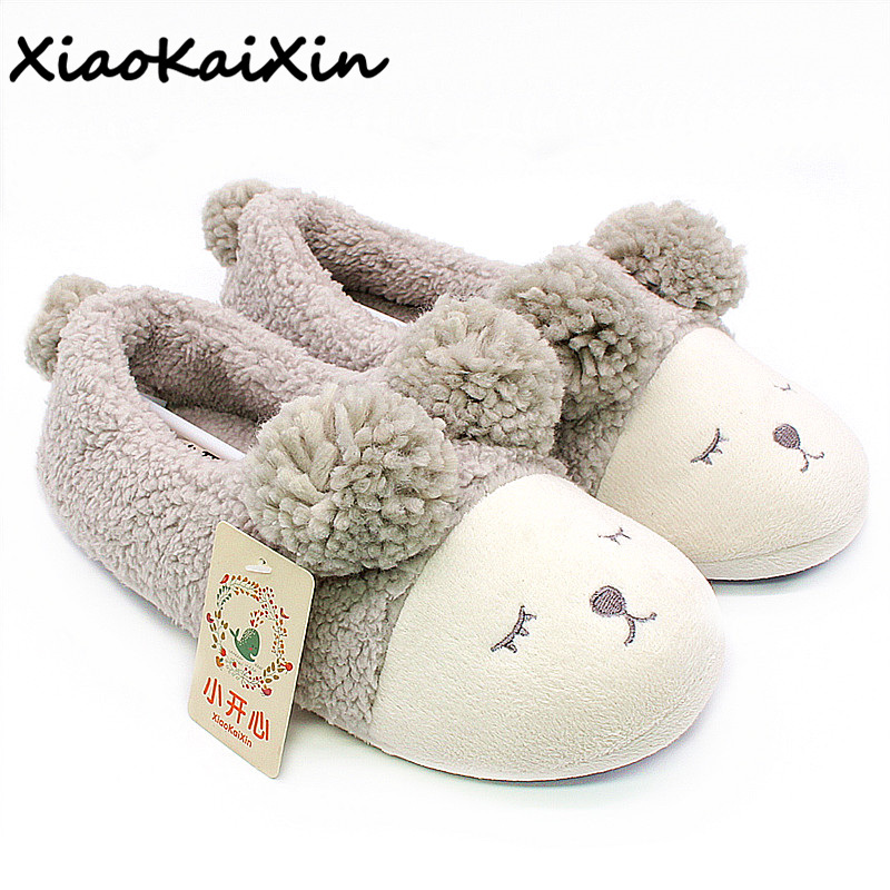 цена на XiaoKaiXin Winter Cotton Lovers Home Slippers For Women and Men Lovely Cartoon Sleepy eyes Sheep House Slippers Shoes Flats Girl
