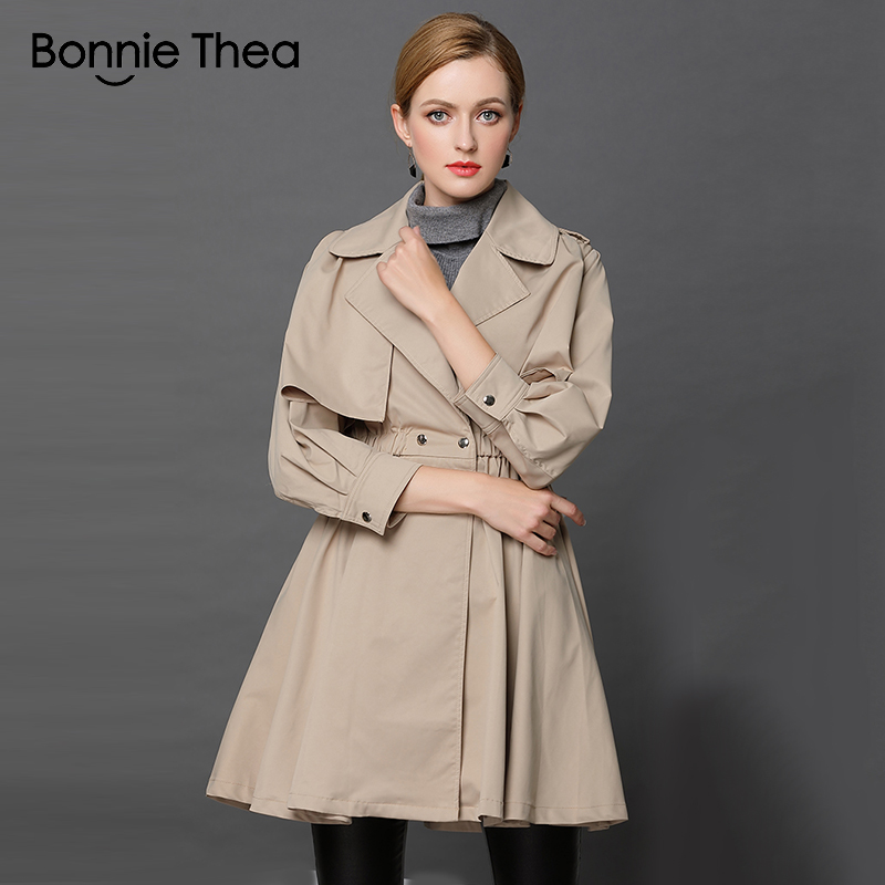 Bonnie Thea autumn women   Trench   femme Khaki slim   Trench   coats spring   trench   office OL long casual   Trench   for women coats 2018