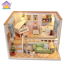 Hoomeda New arrival Miniature Wooden Doll House With DIY Furniture Fidget Toys For Kids Children Birthday Gift Living Room M026