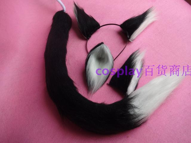 Long Black And White Splicing Plush Tail Animation Cosplay Fox Cat Tail Prop