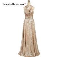 La звезда Мар свадебные костюмы, платья, продажа линии сверкающих Шампань с блестками, Платья для подружек невесты длинные большие размеры
