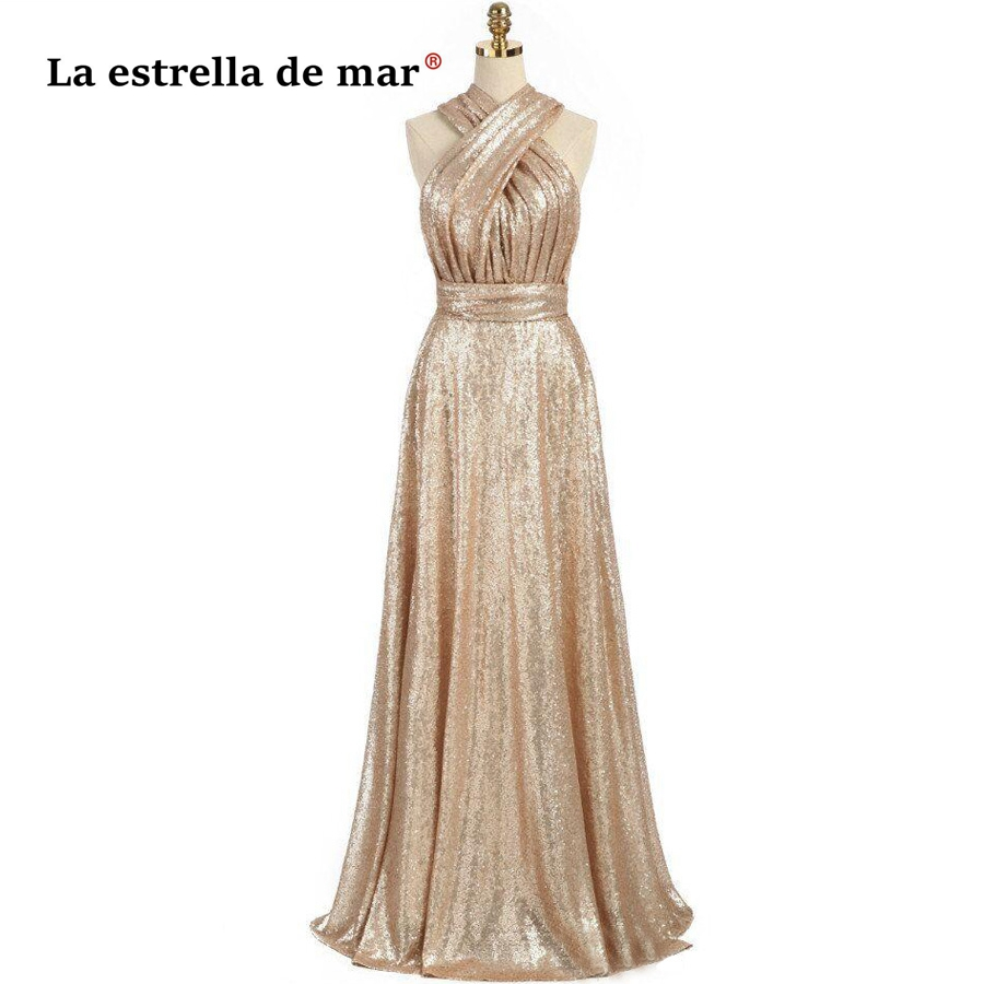 La estrella de mar vestido madrinha casamento sale A line Sparkly Convertible Champagn Sequins   Bridesmaid     Dresses   Long plus size