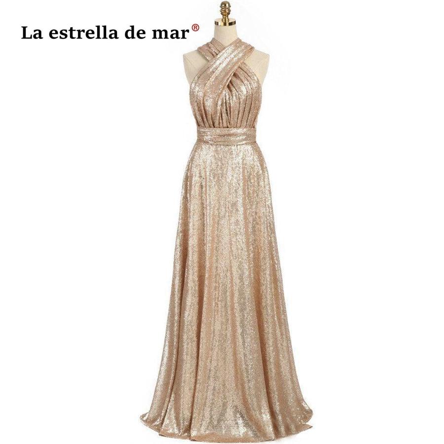 La estrella de mar vestido madrinha casamento sale A line Sparkly Convertible Champagn Sequins   Bridesmaid     Dresses   Long plus size