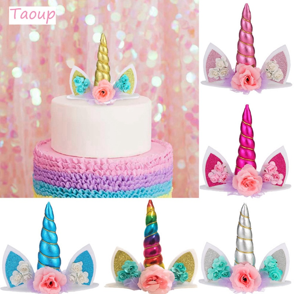 TAOUP Wedding Babyshower Unicorn Cake Topper Wedding Decor for Cake Decorating Supplies Unicorn Birthday Party Decor Unicornio-in Cake Decorating Supplies from Home & Garden
