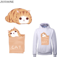 ZOTOONE Cute Cat Patch Iron on Transfer Cartoon Animal Patches for Clothing DIY T-shirt Applique Stickers Clothes Heat