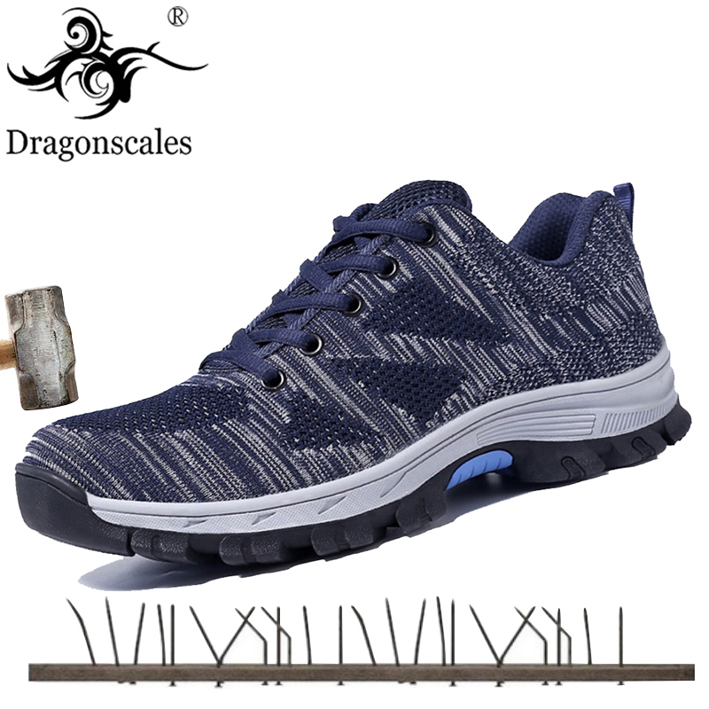 Steel Toe Cap Safety Shoes For Men Lightweight Breathable Flyknit Mesh Work Boots Footwear Puncture Proof