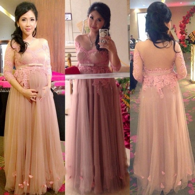 49d129a921cd Long Sleeve Prom Dress for Pregnant Women Maternity Formal Evening Party  Dress See Through Vestidos De Festa A Line Tulle Lace