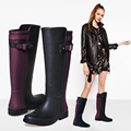 2017 New British Style Women High Tube Color Block Rain Boots Fashion Motorcycle Rubber Boots Solid Color Water Shoes 35-40
