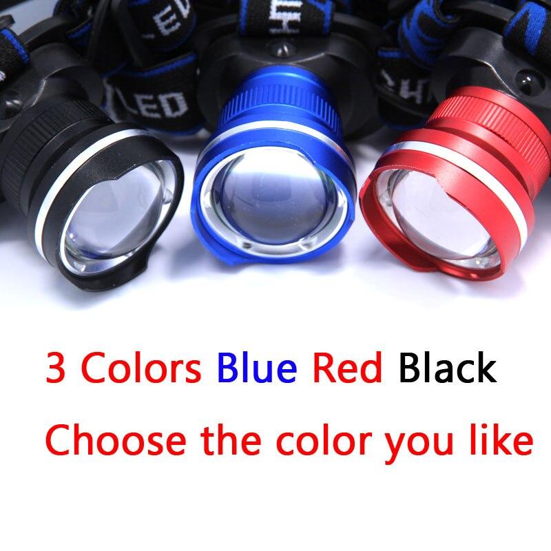 2000 lumen XM-L T6 LED 3-Modus Zoomable Scheinwerfer Scheinwerfer Taschenlampe Kopf Lampe Licht durch 18650 für Camping (nur Scheinwerfer)