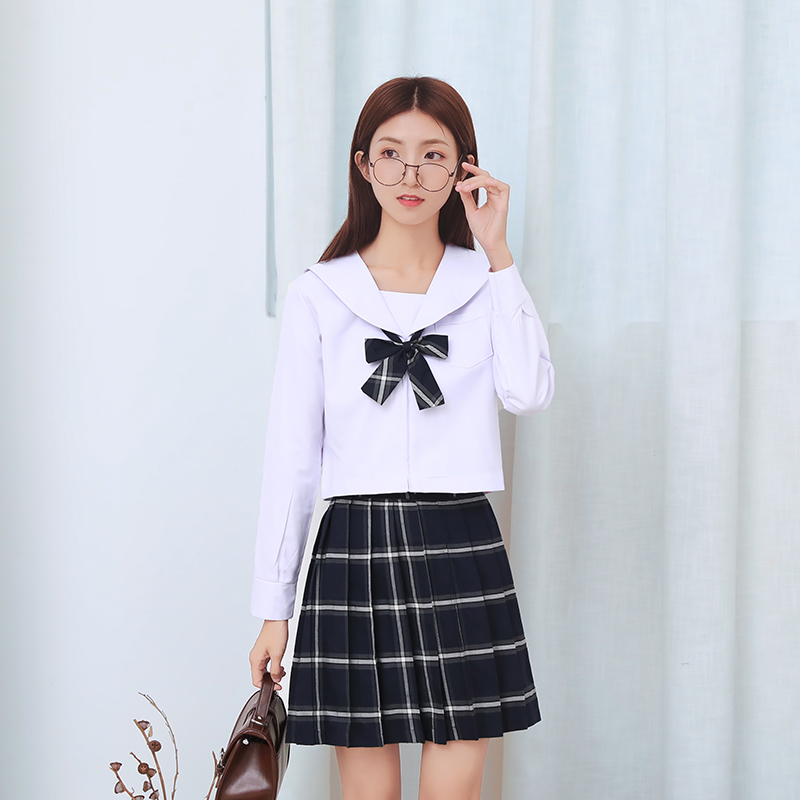 15eb15bf5c4 2018 New Short Long Sleeve Shirt And Plaid Skirt Tie Sailor Anime Plus Size  School Uniforms LY2003