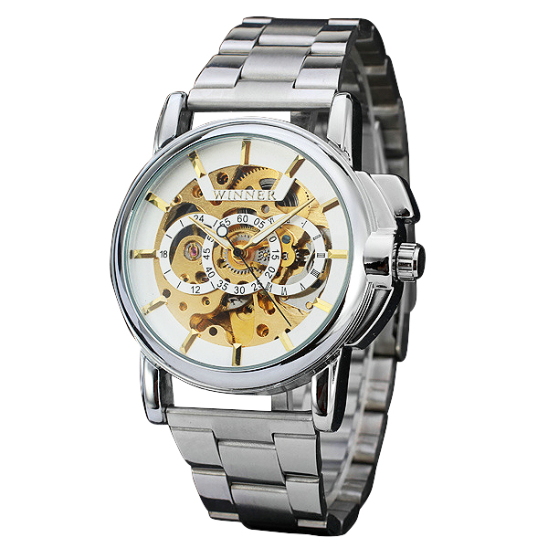 Fashion Luxury Men Automatic Watches Three Round Skeleton Design Dial Golden Movement Luminous Hands Stainless Steel Wrsitwatch цена и фото