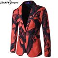 Men Fashion Suit Men's Casual Suit Long Sleeve ink printing Pattern Design wedding dress Men Blazer Slim Fit One Button