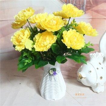 Шелковый цветок свадебный букет роз георгины Искусственные цветы осень Vivid Поддельные Leaf Свадебные цветы Свадебные букеты Оформление