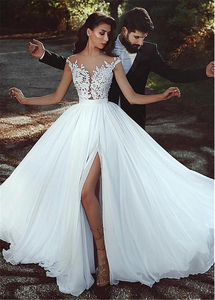 Image 4 - Graceful Chiffon Jewel Neckline A line Wedding Dress With Lace Appliques See Through Bodice Front Slit Bridal Dress Simple