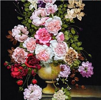 Diy dmc вышивка крестом наборы ручной работы рукоделие китайский 3d лента вышивка цветы узоры розы крестиком картины