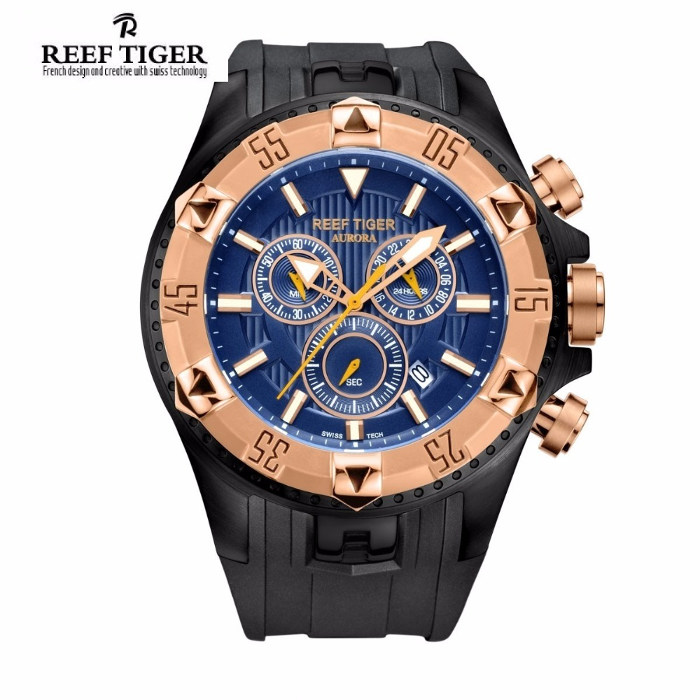 Reef Tiger/RT Men Luxury Sports Watches Quartz Super Big Watch Chronograph Super Luminous Rose Gold Stop Watch RGA303 reef tiger brand men s luxury swiss sport watches silicone quartz super grand chronograph super bright watch relogio masculino
