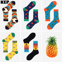 KEP Trend Fashion Hot Brand Men s Cotton Socks Cactus Pineapple Tacos Pattern Food Socks Novel