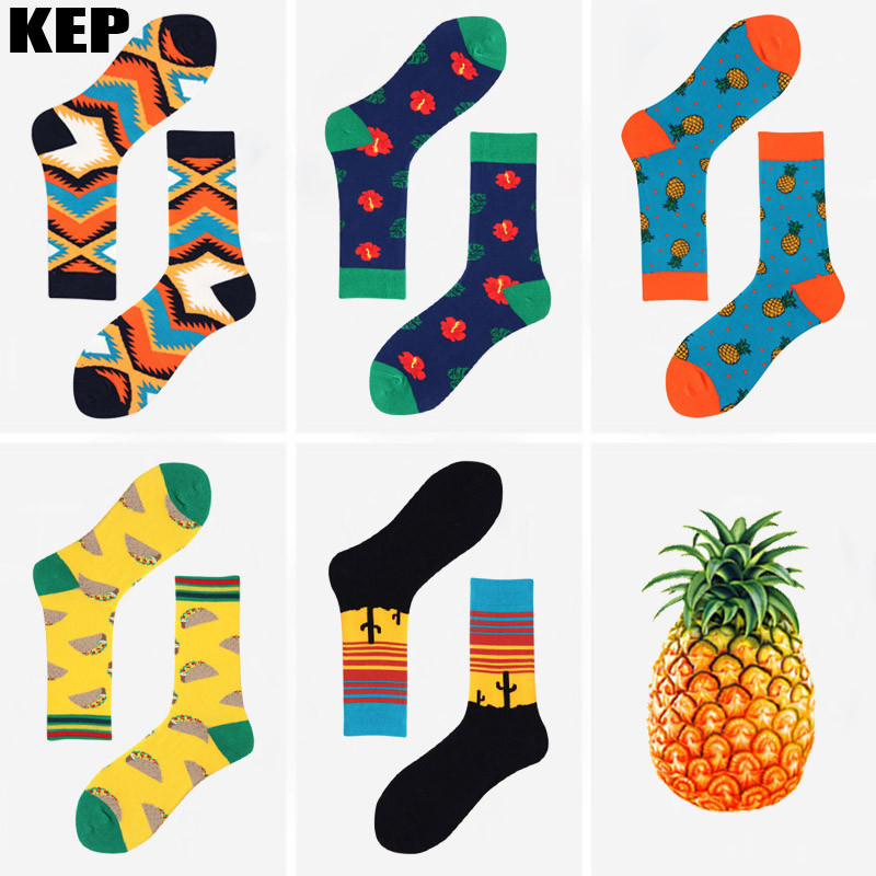 KEP Trend Fashion Hot Brand Mens Cotton Socks Cactus Pineapple Tacos Pattern Food Socks Novel Street Happy Funny Socks Men Gift ...