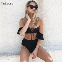 2017 Sexy High Waist Swimsuit Women Bikini Off Shoulder Bikinis Women Swimwear Ruffle Biquini Crochet Bathing