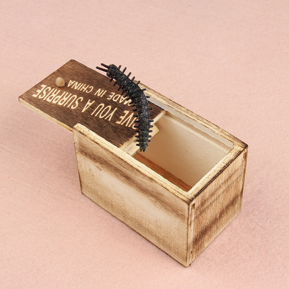 Prank Scare Spider Surprise Box Prank Scare Spider Joke Fun Tricky Toy Little Bug Scared Wooden Box Scare Prank Gag