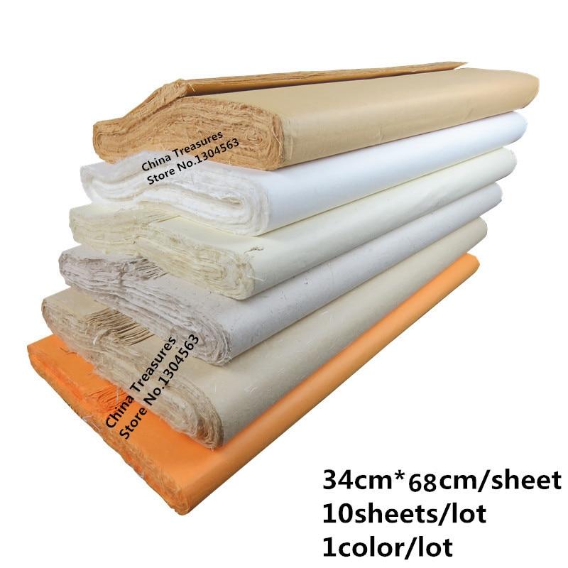 10sheets 34cm*68cm Chinese Rice Paper Calligraphy Painting Paper Handmade Lantern Fiber Xuan Paper Yunlong Pi Zhi Mulberry Paper