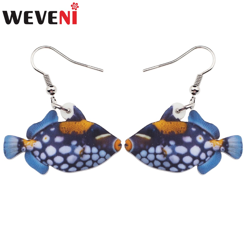WEVENI Acrylic Bigspotted Triggerfish Fish Earrings Big Long Dangle Drop Ocean Sea Jewelry For Women Girls Ladies Kids Bulk Gift