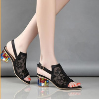 Summer Women Sandals Fashion Korean Version Lace Crystal Plus Size 34 40 Heel Height 4CM Buckle Strap Sexy Sandals Women Shoes