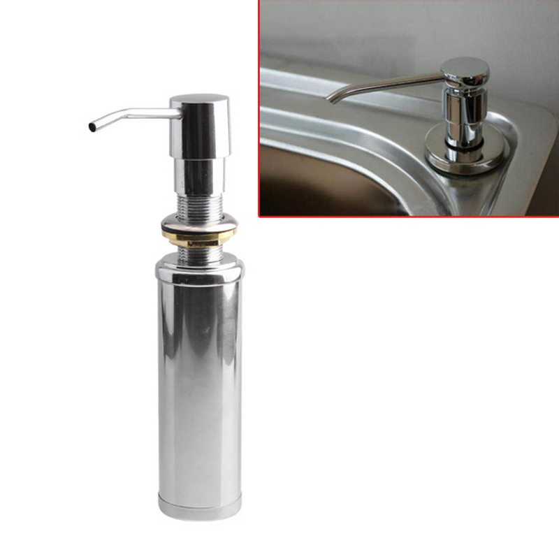 2016 New Brushed Replacement Stainless Steel Kitchen Sink Bottle Liquid Soap Dispenser Built In Hand Soap Dispenser