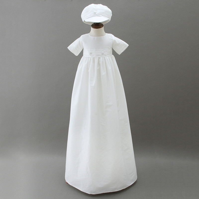 BBWOWLIN White Overlength Baby Boy Baptism Christening Gowns with Hat for 0-2 Years Boy Clothes 9015