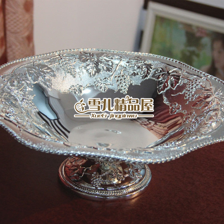 European High Grade Large Silver Grape Fruit Compote Atmosphere Bowl Home Furnishing Plate Dry Villa Hotel In Dishes Plates From