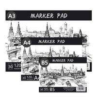 Высокое качество A3 A4 B5 маркер Pad 30 листов профессиональная бумага без проникновения ручная роспись альбом для рисования Sketchbook для студентов