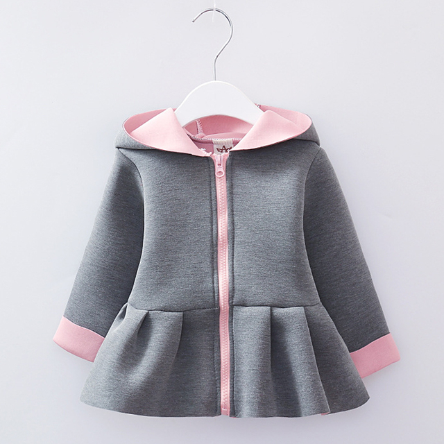 Benemaker Toddler Rabbit Ear Jackets For Girl Spring Children's Clothing Hooded Cute Outerwear Baby Windbreaker Kids Coats JH029