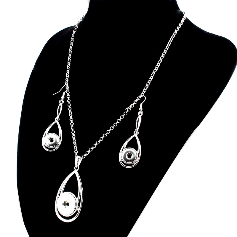 2016 Trendy Bohemian Style Water Drop Shape Pendant Snap Necklace (18mm)&Earring(12mm) Set Fit DIY Snap Jewlery For Women ZG002