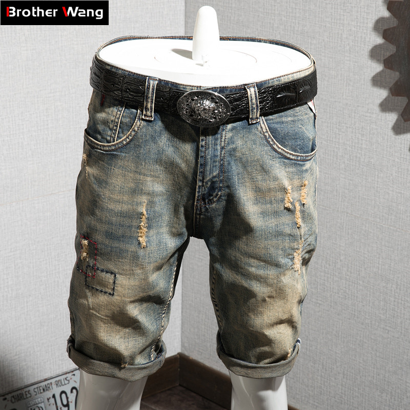 Denim Shorts Jeans Men's Casual Summer New-Fashion Brand Male Ripped Retro-Hole Classic-Style