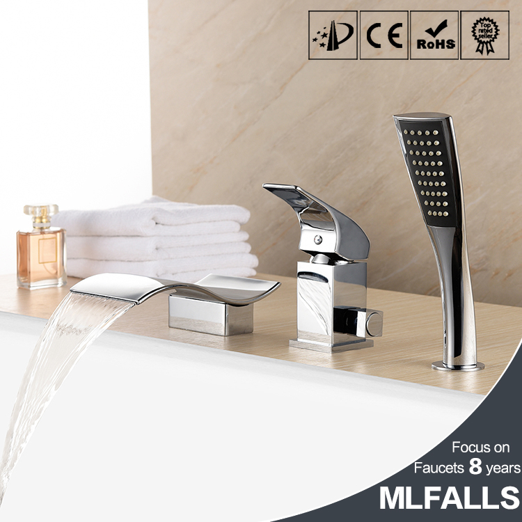 New Arrival Tub Waterfall / Handshower Included with Ceramic Valve 1-Handle 3-Holes for Chrome Bathtub FaucetNew Arrival Tub Waterfall / Handshower Included with Ceramic Valve 1-Handle 3-Holes for Chrome Bathtub Faucet