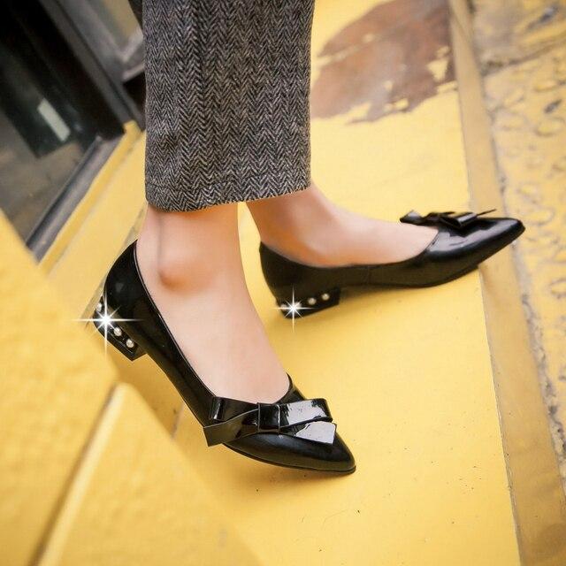 2681897f61 Sapato de bico fino mulheres sapatos de trabalho salto baixo meninas bowtie  doce sapatos senhoras sapatos