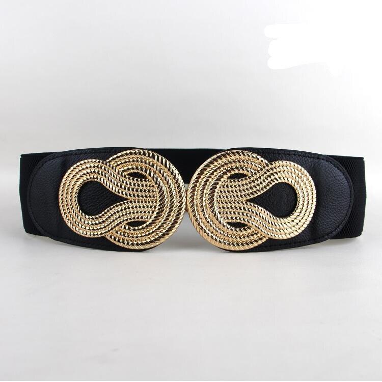 hot sale elastis cummerbunds wanita trendy terbaru emas logam besar busur gesper ikat pinggang hitam pu