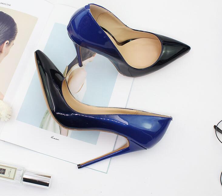 Femmes Dégradé Sexy Haute Talon Violet Cuir Picture Pointu En as Picture Bout Dames Conception As Soirée Verni De Chaussures Super Luxe Bleu Pompes WTna0wIgqY