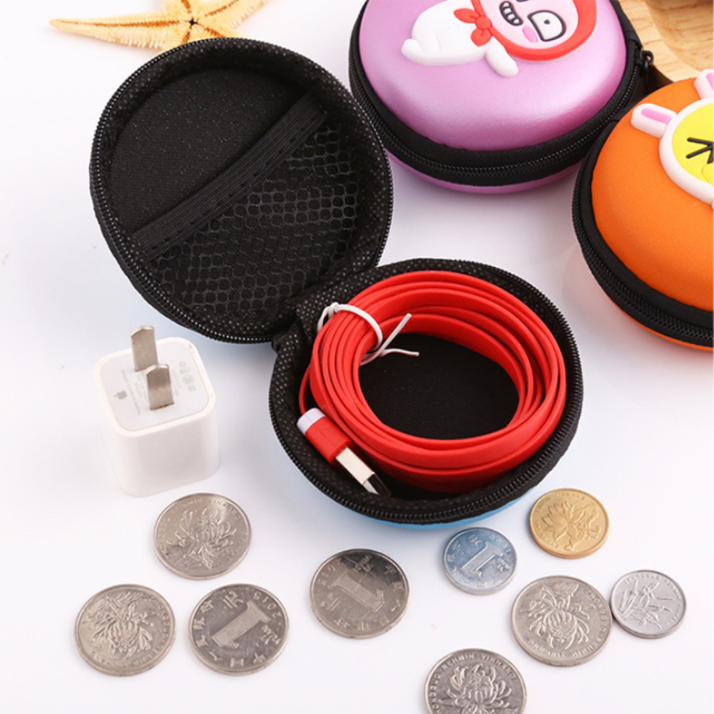 Cute Mini Zipper Hard Headphone Case PU Leather Earphone Storage Bag Protective Case USB Cable Earbuds Pouch Box Earphone Case