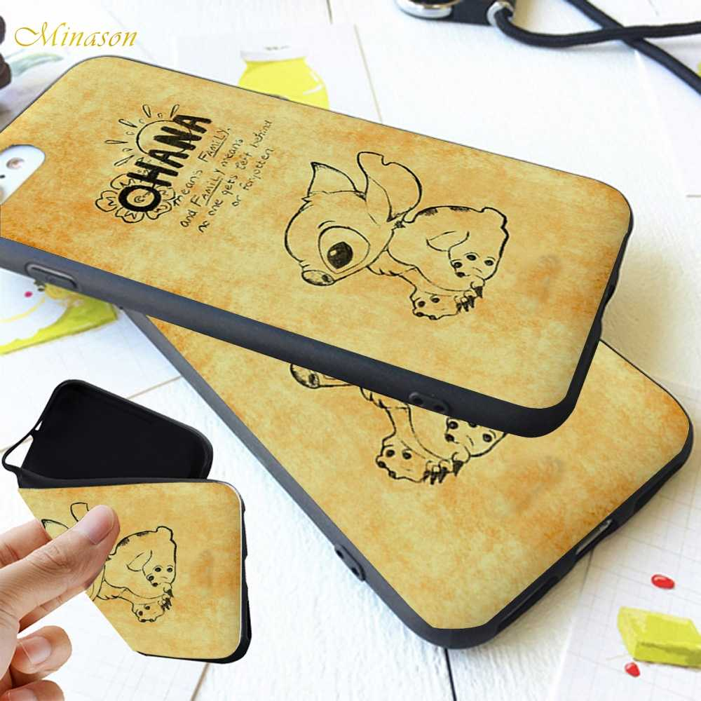 Ohana Soft Black Silicone Case Telefone Para Xiao mi mi a1 a2 9 8 lite Caso Lilo e Stitch Capa capinha Fundas
