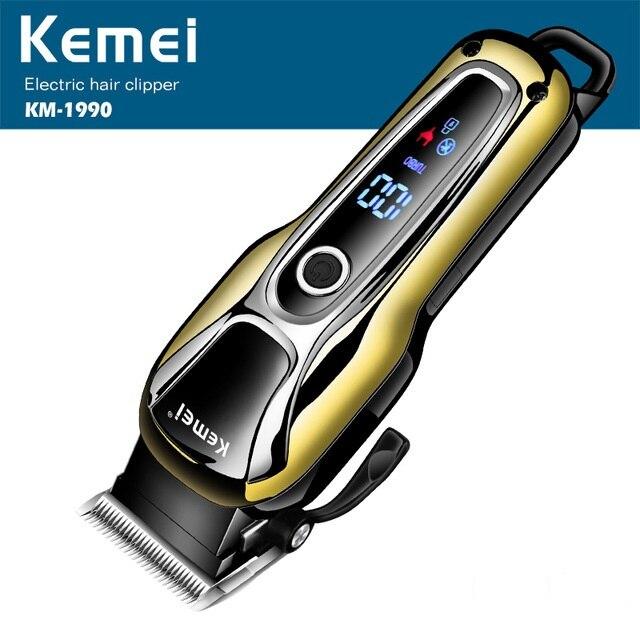 Kemei Rechargeable électrique coupe de cheveux Machine professionnel LCD affichage cheveux tondeuse sans fil électrique tondeuse KM-1990