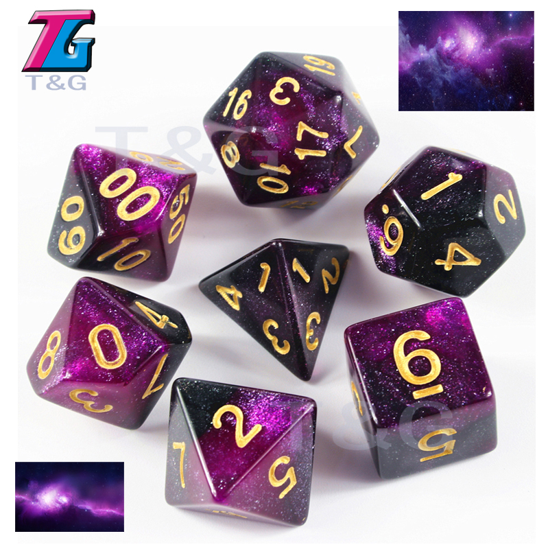 7 Die Double-Colors Dice D4 D6 D8 D10 D% D12 D20 Great for Dungeons & Dragons Golden Digital Games Role Games цена 2017